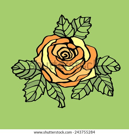 Line drawing yellow rose. - stock vector