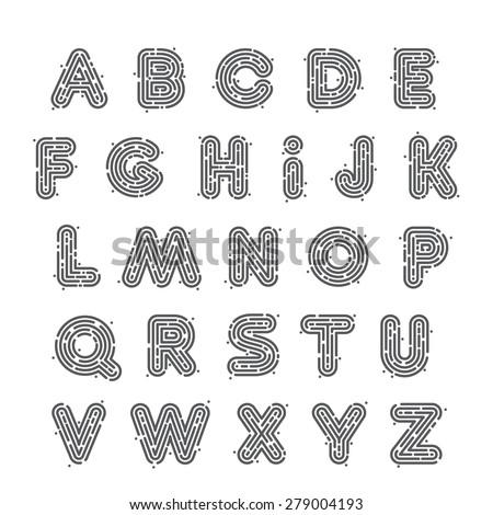 Line Fingerprint English Alphabet Letters Set Stock Vector 279004193 ...