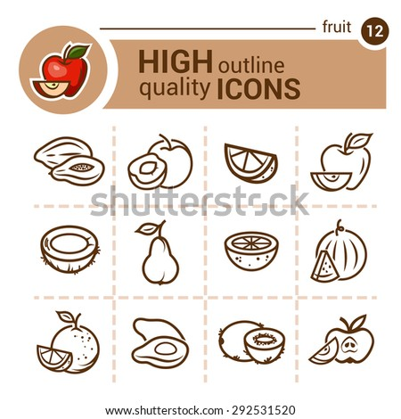 Line flat icons of fruit, vector set. - stock vector