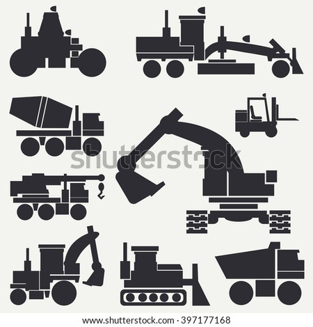 Line flat vector icon construction machinery set with bulldozer, crane, truck, excavator, forklift, cement mixer, tractor, roller, grader. Industrial style. Silhouette. - stock vector