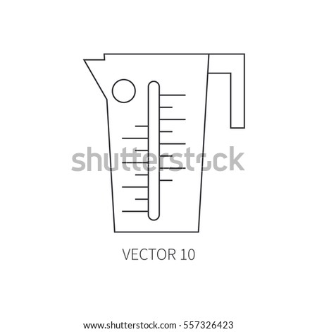 Line flat vector kitchenware icons - beaker. Cutlery tools. Cartoon style. Illustration, element for your design. Equipment for food preparation. Kitchen. Household. Cooking. Cook. Graduate.