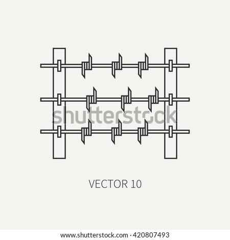 Line flat vector military icon - barbed wire. Army equipment and weapons. Cartoon style. Vector illustration. Military and war icons. Infographic design elements for design.