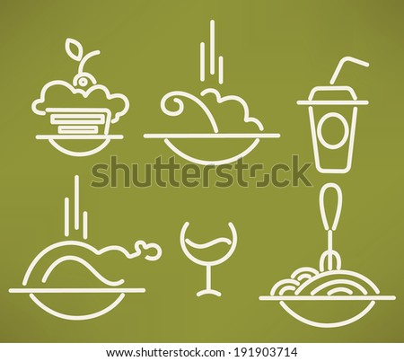 line food images in info-graphic style, vector collection - stock vector