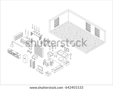 Line Furniture Set Isometric View Vector Stock Vector HD (Royalty ...
