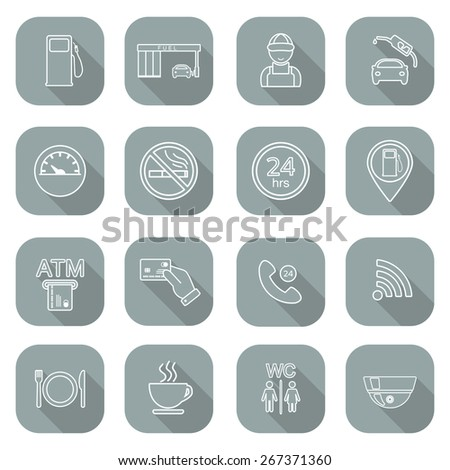 Line gas station icons. Service fuel glyph icons. Flat design. Shadow. Vector illustration - stock vector