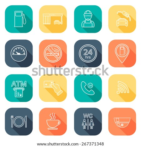 Line gas station icons. Service fuel glyph icons. Flat design. Vector illustration - stock vector