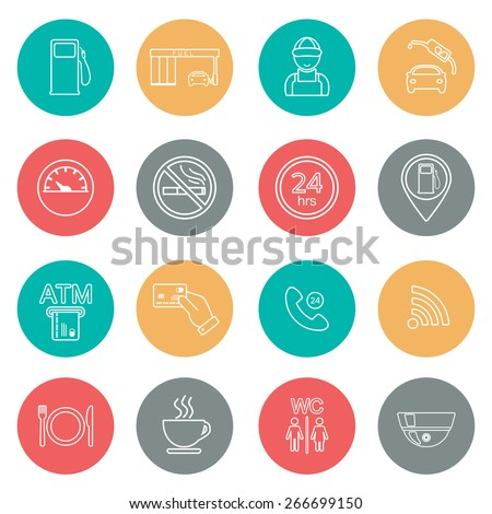 Line gas station icons. Service icons. Vector illustration - stock vector