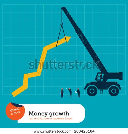 Line Graph Crane. Vector illustration Eps10 file. Global colors. Text and Texture in separate layers. - stock vector