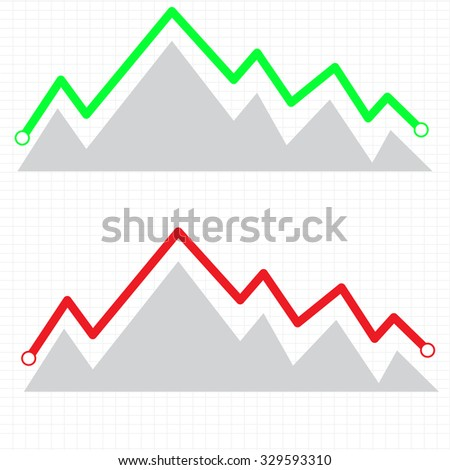 Line graph element. Graph, chart over gridded background. Vector. - stock vector