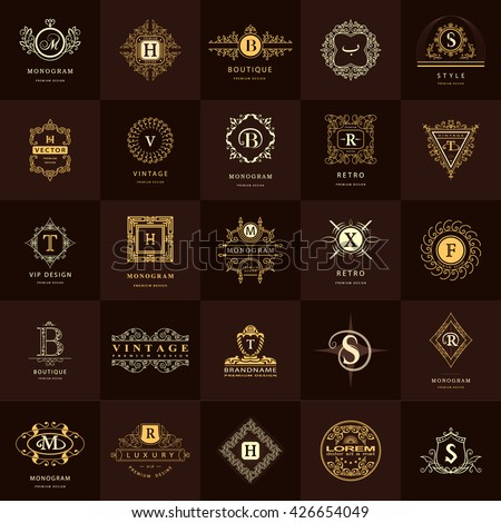Line graphics monogram vintage logos design stock vector royalty vintage logos design templates set business sign letter emblem vector wajeb Image collections
