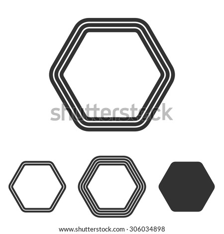 Line hexagon logo design set - stock vector