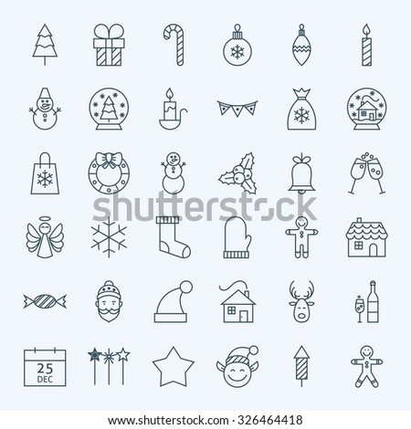 Line Holiday Christmas Icons Set. Vector Set of 36 New Year Holiday Modern Line Icons for Web and Mobile. Winter Season Icons Collection - stock vector