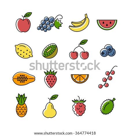 Line icon collection. Set of colorful fruits and berries icons on a white background. Vector design elements for web and mobile