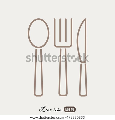 Line icon- fork, knife, spoon