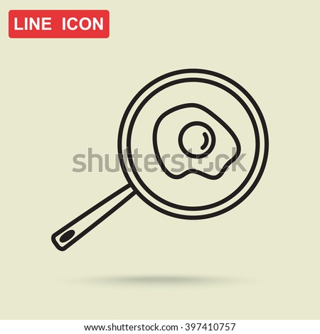 Line icon- fried egg in a frying pan