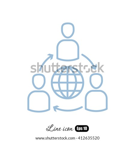 Line icon- Group of  People Around the World - stock vector