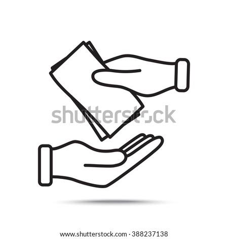 Line icon- money on hand - stock vector