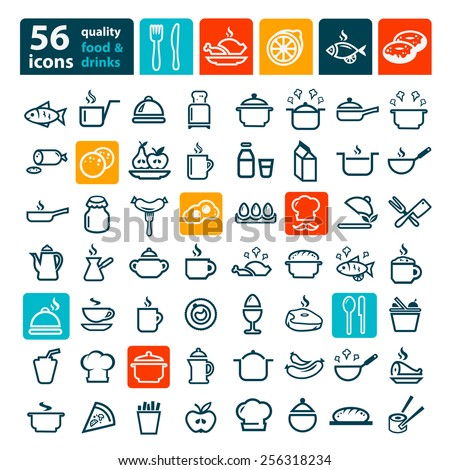 line icon food drink vector set stock vector 281104025 shutterstock