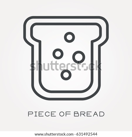 Line icon piece of bread