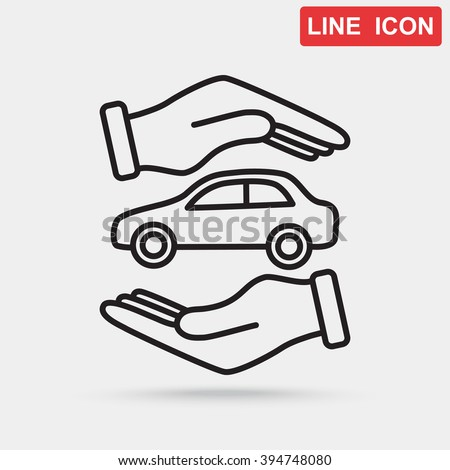 Line icon- Protection of car - stock vector