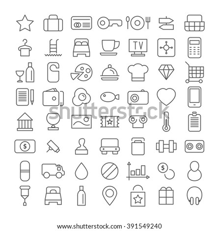 Line icon set. Flat vector. - stock vector