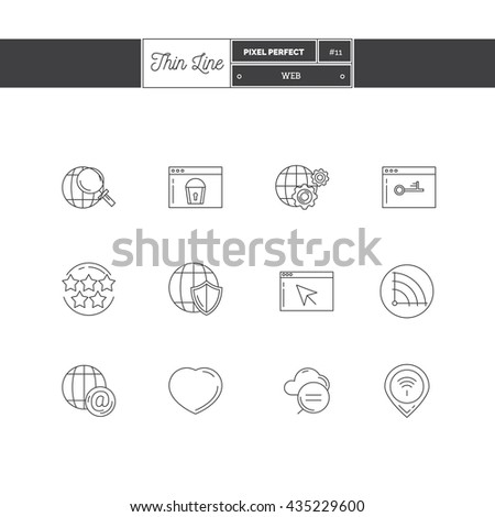 Line Icon Set of Global Connection, objects and tools elements. Web interface, technology service, internet protections, search, social networking, webpages. Logo icons vector illustration - stock vector