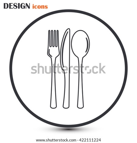 Line icon- sign with spoon, fork and knife.Menu card.