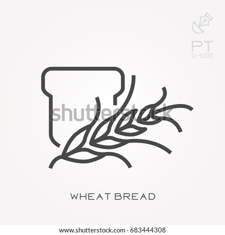 Line icon wheat bread