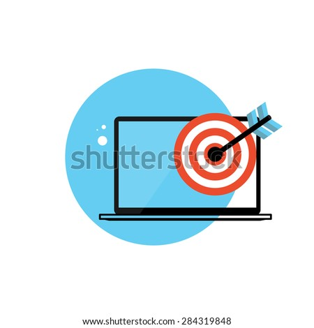 Line Icon with Flat Graphics Element of  Target and Laptop Computer Vector Illustration EPS10 - stock vector
