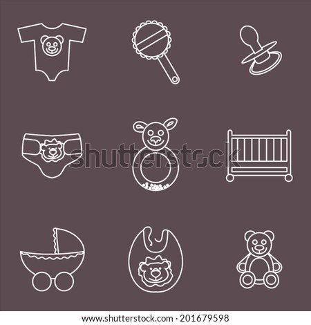 Line icons, baby goods collection. Vector icons set. - stock vector