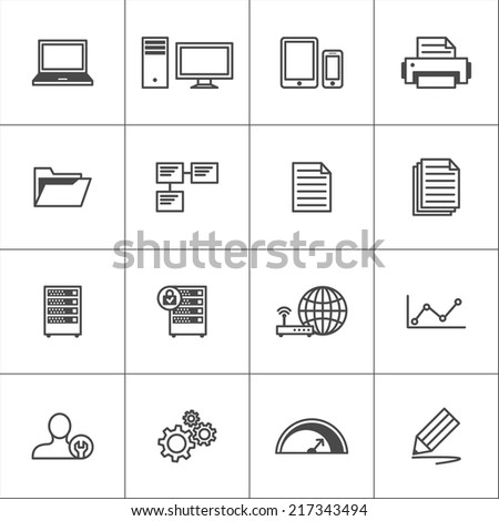 Line icons for visualization work processes or office devices. Vector set. - stock vector