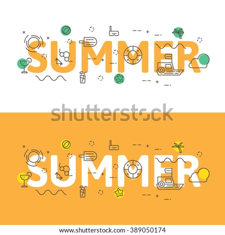 Line icons  illustration concept of words summer and elements Vector illustration concept for website banner, printing or infographics. - stock vector