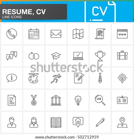 line icons set resume cv outlineのベクター画像素材 502712959