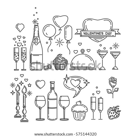 Line icons set for Valentine's Day and other romantic events. Romantic dinner. Bottle of wine, glasses, champagne, strawberries, cake, rose flower, candlelight. Vector illustration