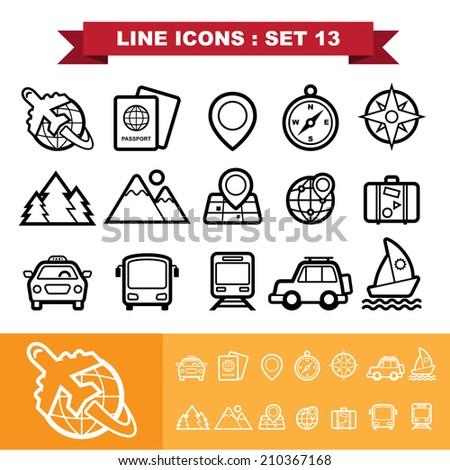 Line icons set 13 .Illustration eps 10 - stock vector