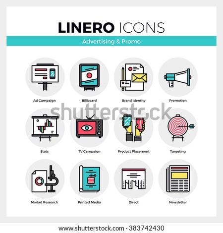 Line icons set of advertising media, marketing promotion. Modern color flat design linear pictogram collection. Outline vector concept of mono stroke symbol pack. Premium quality web graphics material - stock vector