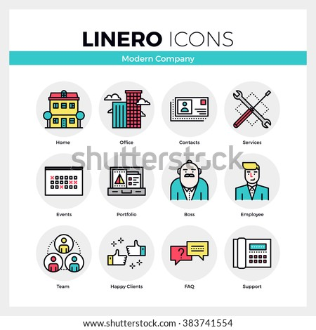 Line icons set of business company services, office team. Modern color flat design linear pictogram collection. Outline vector concept of mono stroke symbol pack. Premium quality web graphics material - stock vector