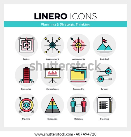 Line icons set of business goals planning, strategic thinking. Modern color flat design pictogram collection. Outline vector concept of mono stroke symbol pack. Premium quality web graphics material. - stock vector