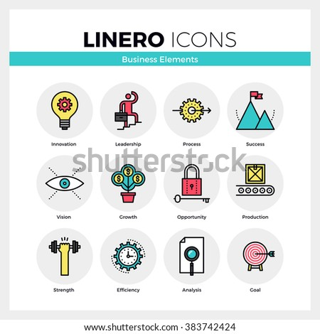 Line icons set of business growth and opportunity vision. Modern color flat design linear pictogram collection. Outline vector concept of mono stroke symbol pack. Premium quality web graphics material - stock vector