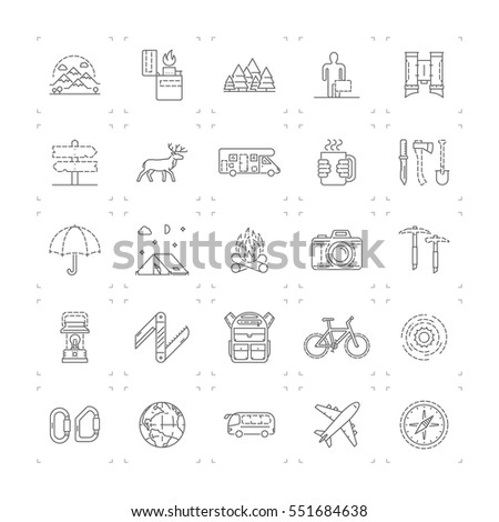 Line icons set of camping, hiking and tourism. Vector linear symbol.
