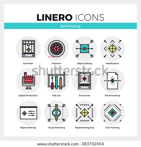 Line icons set of 3D printing, volumetric modeling machine. Modern color flat design linear pictogram collection. Outline vector concept of stroke symbol pack. Premium quality web graphics material. - stock vector