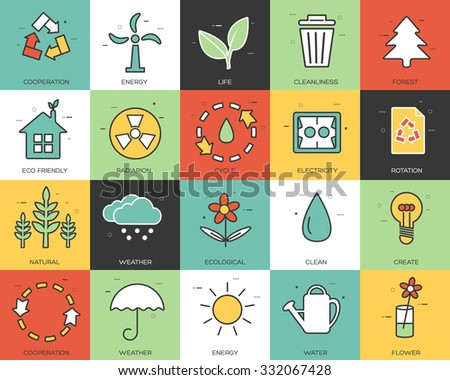 Line icons set of eco collection concept. Modern vector pictogram with flat design elements design.