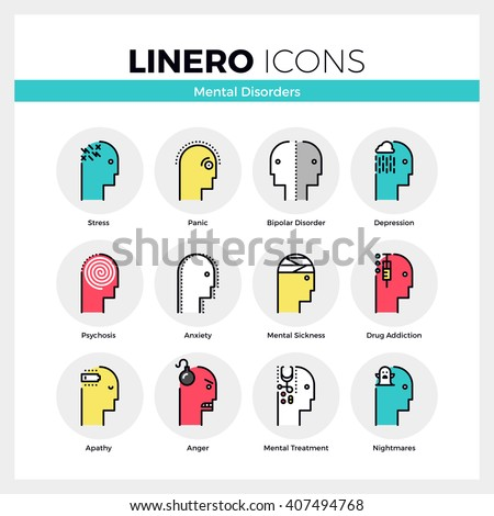 Line icons set of human mental disorders, personal emotions. Modern color flat design pictogram collection. Outline vector concept of mono stroke symbol pack. Premium quality web graphics material. - stock vector