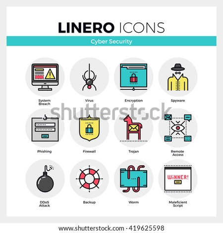 Line icons set of internet viruses, computer cyber security Modern color flat design linear pictogram collection Outline vector concept of mono stroke symbol pack Premium quality web graphics material - stock vector