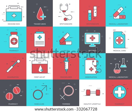 Line icons set of medical collection concept. Modern vector pictogram with flat design elements design.  - stock vector