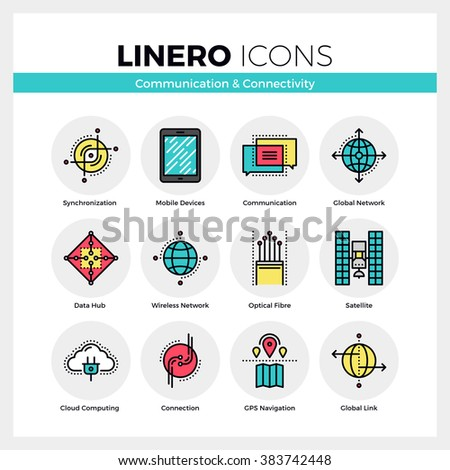 Line icons set of network connection, mobile communication. Modern color flat design linear pictogram collection. Outline vector concept of stroke symbol pack. Premium quality web graphics material. - stock vector