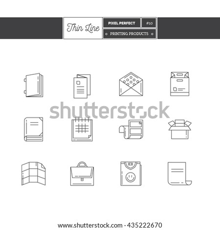 Line Icons Set of Printing objects elements. Print industry, typographic industry Logo icons. Vector illustration. Logo icons vector illustration - stock vector