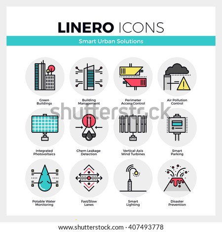 Line icons set of smart urban solution, city technology. Modern color flat design linear pictogram collection. Outline vector concept of mono stroke symbol pack. Premium quality web graphics material. - stock vector
