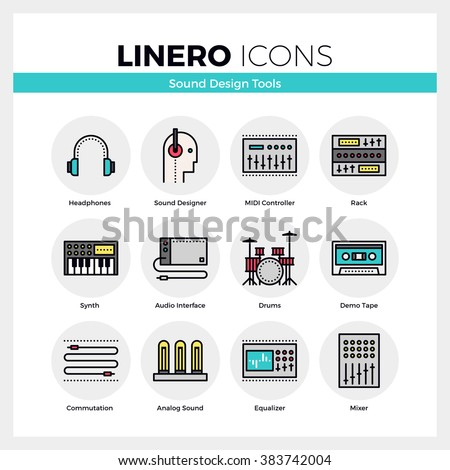 Line icons set of sound engineering synth and midi controller. Modern color flat design linear pictogram collection. Outline vector concept of stroke symbol pack. Premium quality web graphics material - stock vector