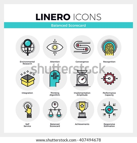 Line icons set of strategic planning and management system. Modern color flat design linear pictogram collection Outline vector concept of mono stroke symbol pack Premium quality web graphics material - stock vector